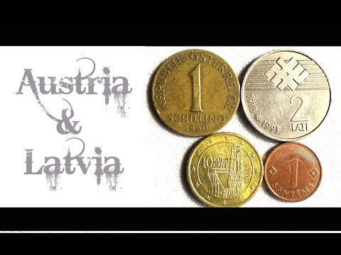 Coin collection | Austria & Latvia | 4 Coins ( Schilling, Euro Cent, Santims & Lati ) from 1960
