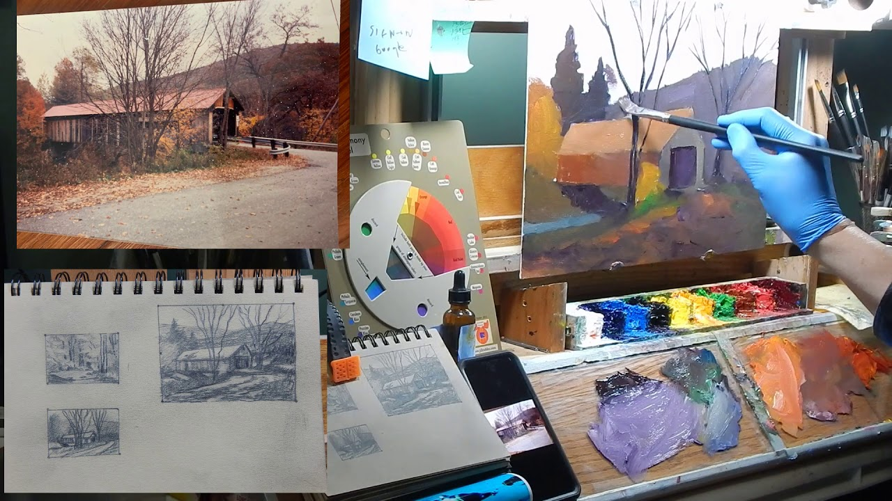 127 New England Covered Bridge Oil Painting TomFisherArt ep127