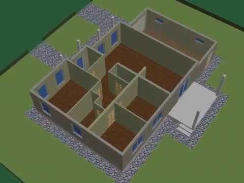 Проект дома с гаражом, 3 спальни.  Планировка.