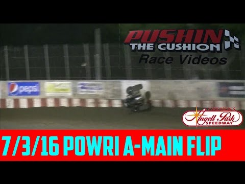 Angell Park Speedway 7/3/16 POWRi Midget Feature Flip
