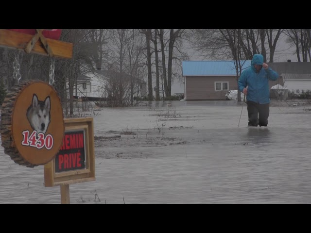Quebec's Lake Saint Pierre has risen sharply and is flooding homes and farmland. Lake Saint Pierre is a widening of the St. Lawrence River between the cities of Sorel and Trois Rivieres.  (The Canadian Press)