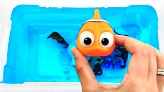 Learn Colors With Wild Animals and Sea Animals in Blue Water Tub Shark Toys For Kids