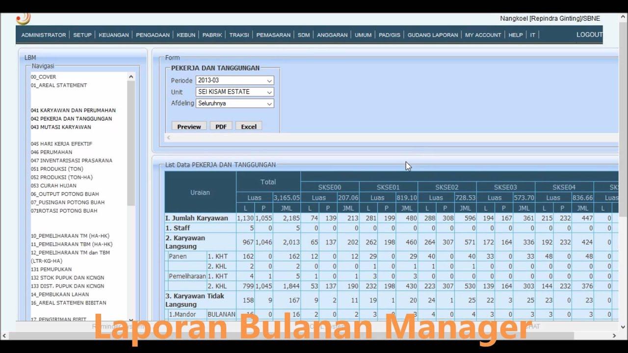 6 Laporan Bulanan Manager Estate Manager Report Owl Plantation System Youtube