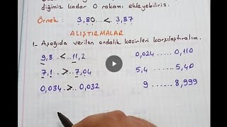 5.sınıf matematik Ondalık kesirleri karşılaştırma