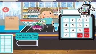CASH REGISTER Supermarkt Kasse App Deutsch - Grocery Market Spiel - Kaan kauft Torte für Geburtstag