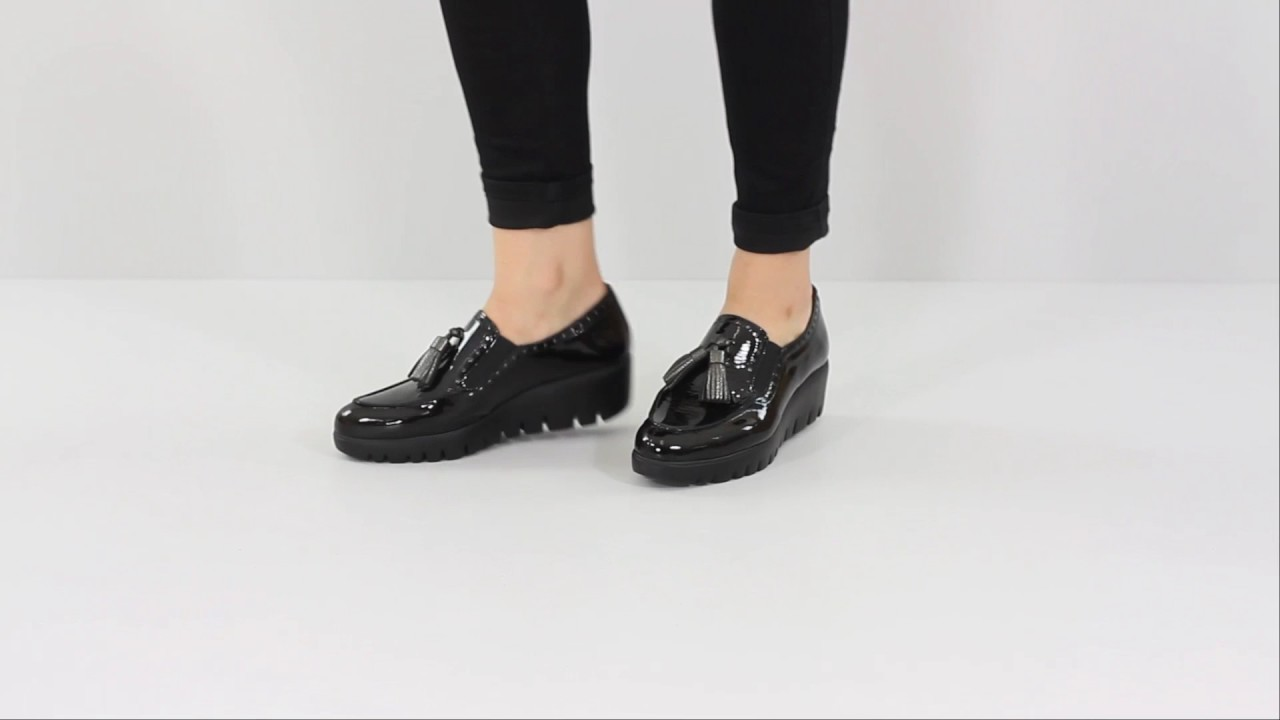 119f0e8eb2f0 Wonders C-3386 Patent Wedge Loafer - Black. The Shoe Horn