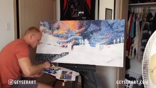 Pointillism Time Lapse of Progressive Field, Cleveland Indians