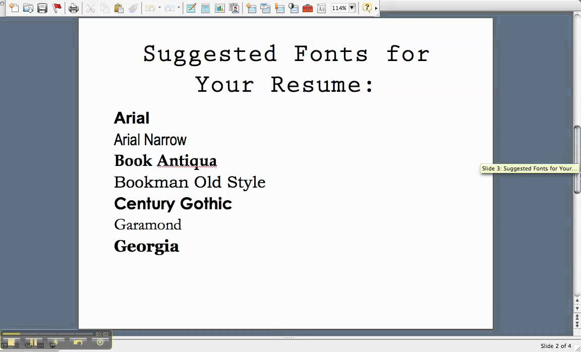 resume fonts to use