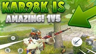 KAR98K 1V5 + 25 Kill Solo vs Fireteam Win! NEW BEST GUN in Rules Of Survival? I LOVE IT!