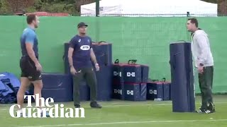 South Africa's head coach has been filmed 'teaching' his players a new tackling technique after Owen Farrell's controversial challenge on André Esterhuizen ...