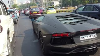 Lamborghini Aventador in Mumbai traffic INDIA
