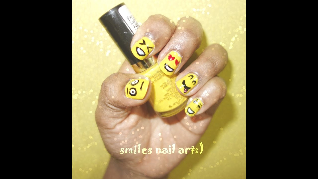 Nail Art Emoji Smiles Nail Art For Beginnerssimple And Easy D