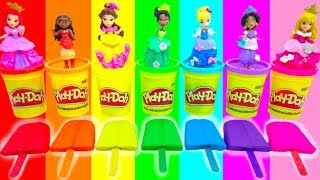 DIY Disney Princess Play Doh Learn How To Make Ice Cream Popsicles Mold Dress Up