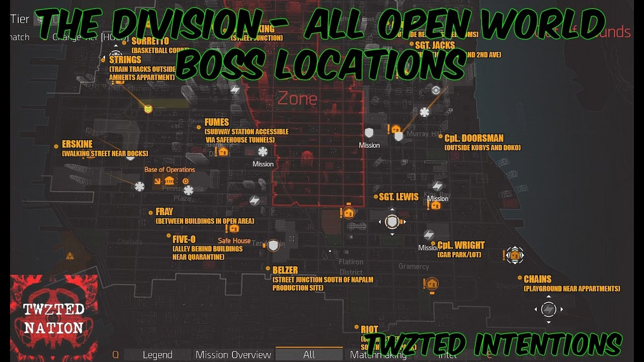 Map Of World Bosses In The Division.The Division All Free Roaming Boss Locations Youtube