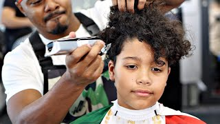 HE LOOKED TOTALLY DIFFERENT AFTER THIS HAIRCUT TUTORIAL: MID DROP FADE CURLY TOP