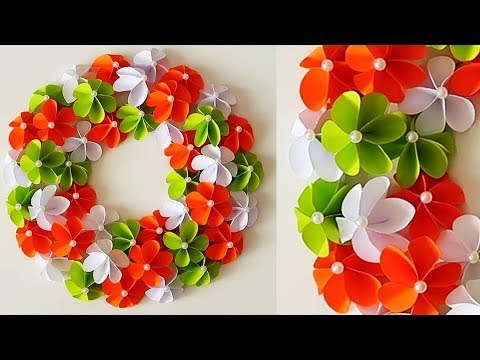 Tricolour Paper flower. Republic Day Craft. Wall Decoration Ideas. 2019. Beautiful Wall Hanging