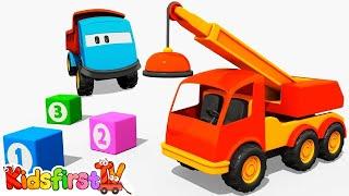 Kid's 3d Construction Cartoons For Children: Leo Paints A Crane (английский для детей)