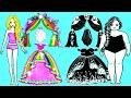 Paper Dolls Dress Up - Rainbow Skirt and Wedding Dresses Handmade Quiet Book - Barbie Story & Crafts