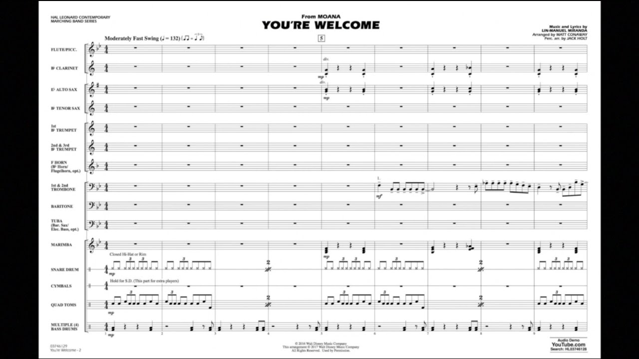 image regarding Free Printable Trombone Sheet Music known as Youre Welcome (against Moana) - 1st Trombone atStantons Sheet