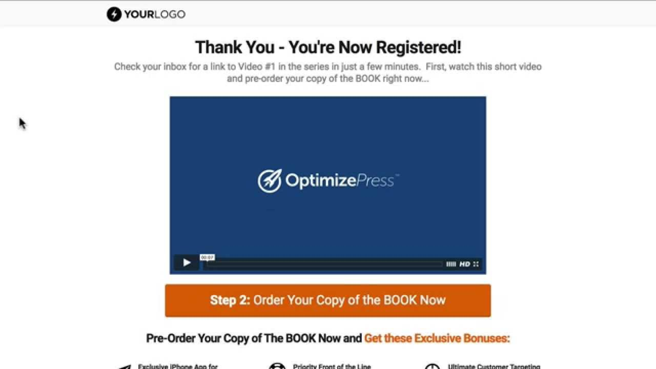 Optimizepress Book Launch Thank You Page Template Youtube