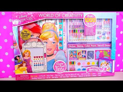 Coloring Toys ! GIANT Disney Princesses Activity Kit With Colors, Stickers, Paints, and More