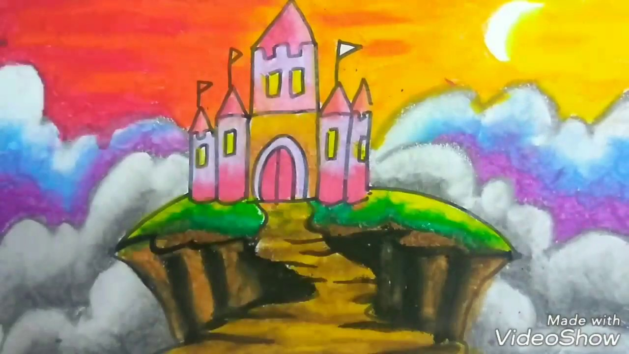 learn drawing and crayon how to colour castle with crayon