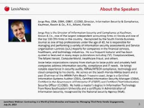 Third Party Due Diligence On Demand Webinar: Contracting in a World of Data Breaches and Insecurity