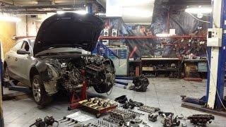 Снятие двигателя Audi A5 за одну минуту(3 часа = 1 минута Снятие двигателя на Audi A5 в рамках диагностики причин повышенного расхода масла. Автосервис..., 2015-10-15T09:58:37.000Z)