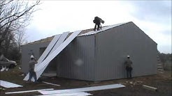 Five Starr Metal Builders sheeting a 30X40X10 near Cleveland, TX