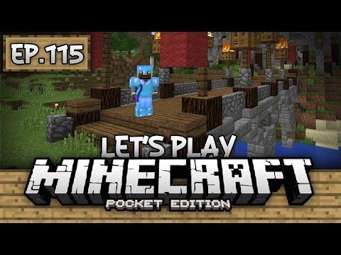 Survival Let's Play Ep. 115 - CASTLE BRIDGE & CAVING!!! - Minecraft PE (Pocket Edition