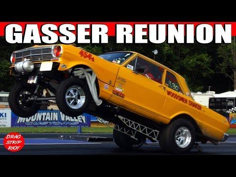 GASSER DRAG RACING Burnouts Wheelies Cars Hot Rod Car Race Video Beaver Springs Nostalgia Nationals