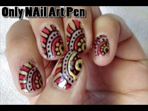 Womans Special Nail Art With Nail Art Pen Youtube