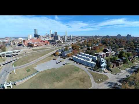 Arkansas River near downtown Tulsa - drone flight