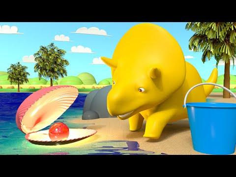 Dino spaceruje po plaży i uczy się kolorówucz się z Dino dinozaurem Bajki Edukacyjne dla Dzieci