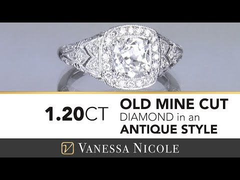 ANTIQUE ENGAGEMENT RING    Old Mine Cut Diamond In A Custom Antique Diamond Ring For Courtney