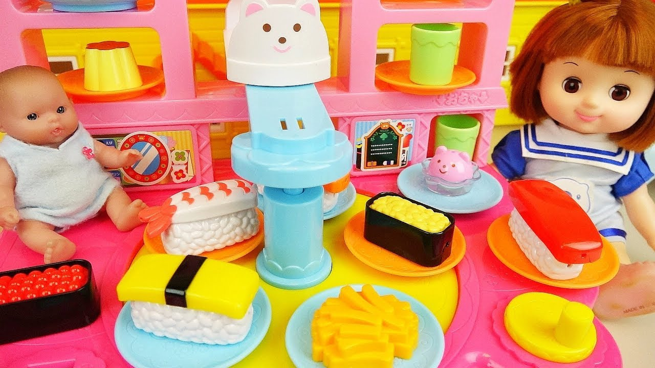 Baby doll food shop cooking play baby Doli house