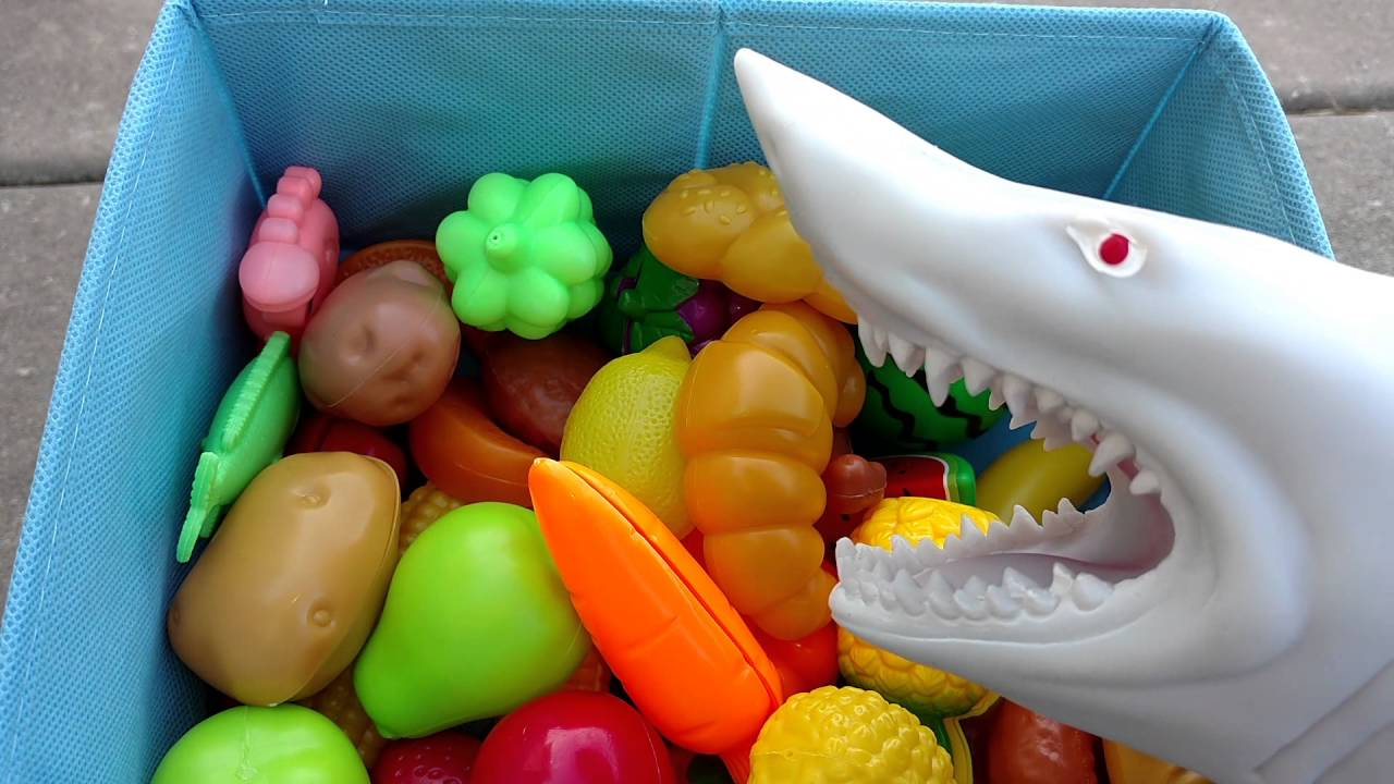 Learn Names of Fruits And Vegetables/ Puppet Shark Eating-Fun Learning for  children