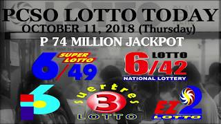 Lotto Result Today, October 11, 2018 (Thursday) - PCSO LOTTO TODAY