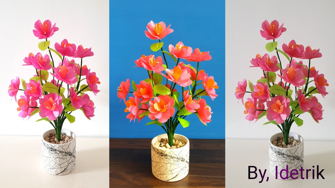 Cara Membuat Bunga Dari Plastik Kresek Bunga Hias Mempercantik Meja Tamu Youtube Bunga hiasan meja tamu