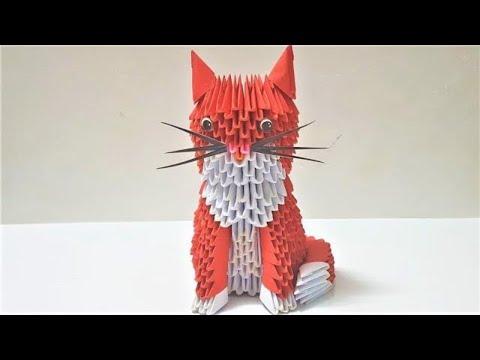 Make 3D Cat | Crafty Make Paper3D Cat | 3D Origami Cat Tutorial | DIY 3D Cat with Paper Step by Step