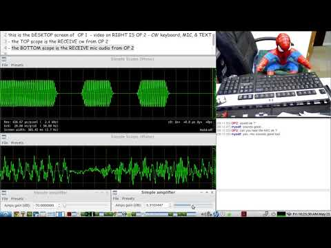 HAM RADIO QSO over the internet between 2 OPS with CW, VOICE, & TEXT by using all free software