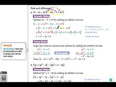 7-5 Notes on Adding and Subtracting Polynomials