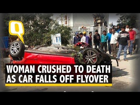 Car Falls Off Hyderabad Flyover, Crushes Woman Below | The Quint