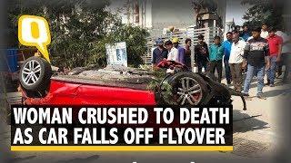 Car Falls Off Hyderabad Flyover, Crushes Woman Below | The Quint