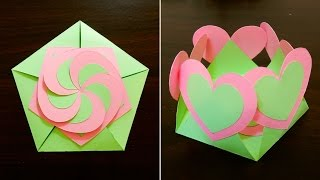 Gift envelope sealed with hearts - learn how to make a gift card with interlocking hearts - EzyCraft