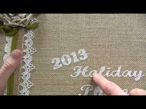 Burlap Photo Album with Holiday Photo Cards