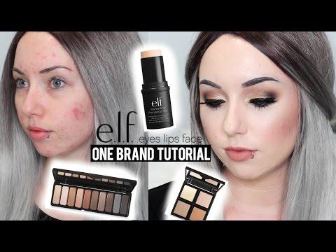 elf ONE BRAND TUTORIAL! Acne Coverage & Smokey Eye | Affordable Makeup