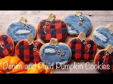 Denim and Plaid Pumpkin Cookies!