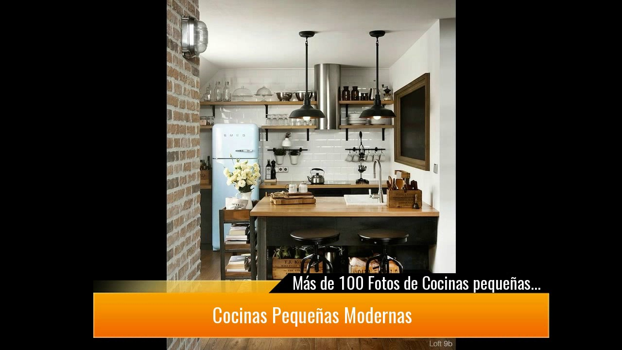 De 100 fotos de cocinas peque as modernas de 2017 youtube for Cocinas pequenas con isla