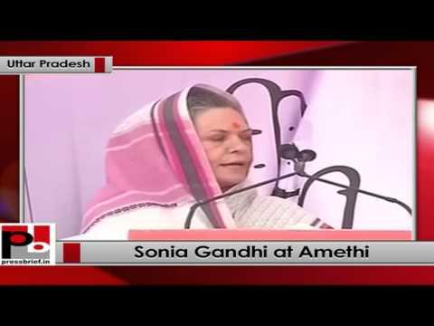 Sonia Gandhi addresses a public rally in Amethi (Uttar Pradesh)